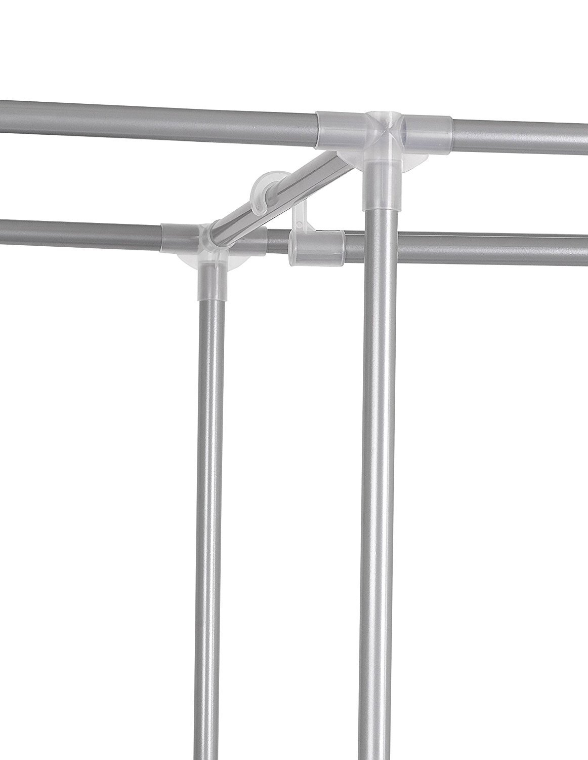 FloridaBrands Portable Closet Wardrobe - 62'' Clothes Closet Storage Organizer and Non-Woven Fabric Standing Wardrobe with Hanging Rack and 4 Shelves for Keeping Clothing Safe, Dust-Proof Cover by by FloridaBrands (Image #5)