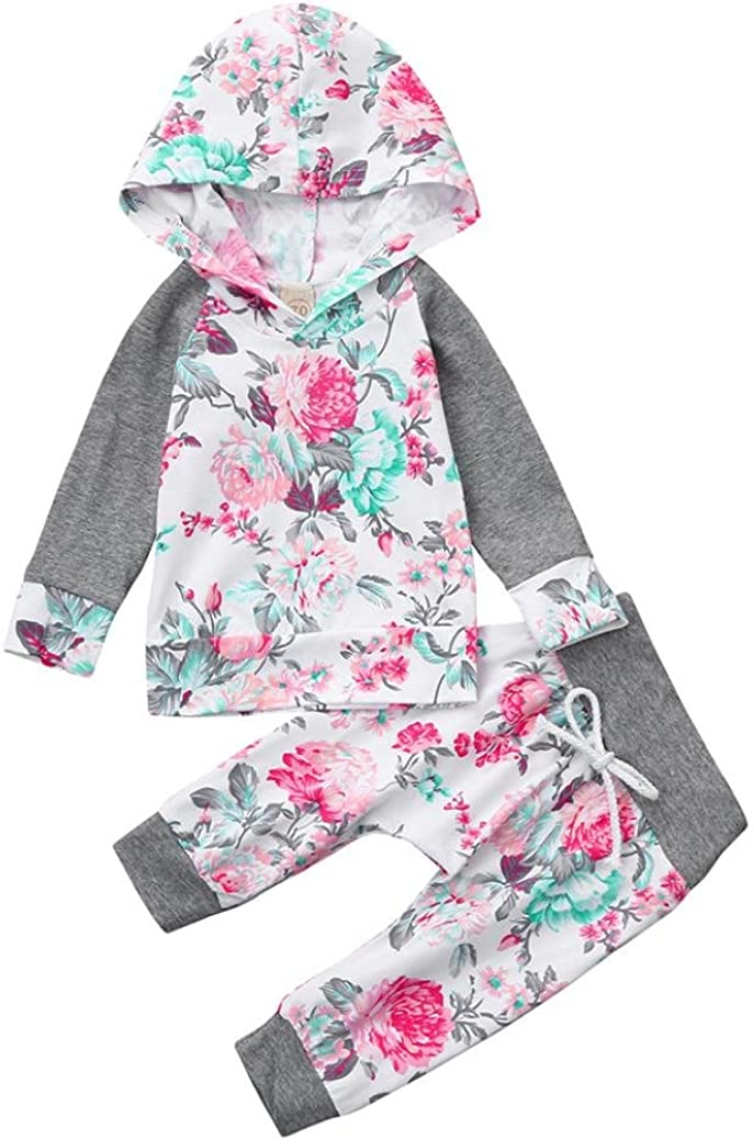 FORESTIME Newborn Infant Baby Boy Girl Floral Print Hoodie Tops+Pants Outfit Clothes Set