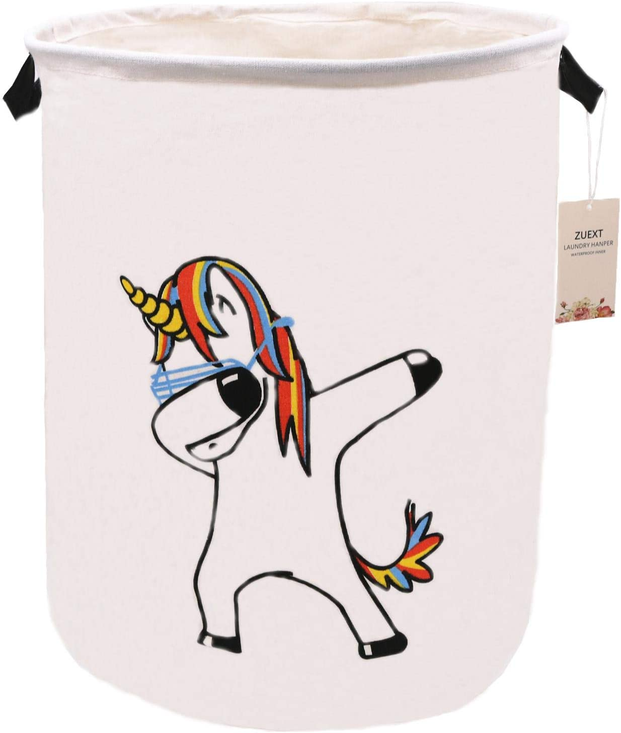 Unicorn Laundry Basket Extra Large 19.7 x 15.7 Inch, ZUEXT Canvas Fabric Collapsible Clothes Bin,Waterproof Laundry Hamper, Nursery Toy Bins,Storage Baskets for Bedroom, Kids, Adults,Boys and Girls