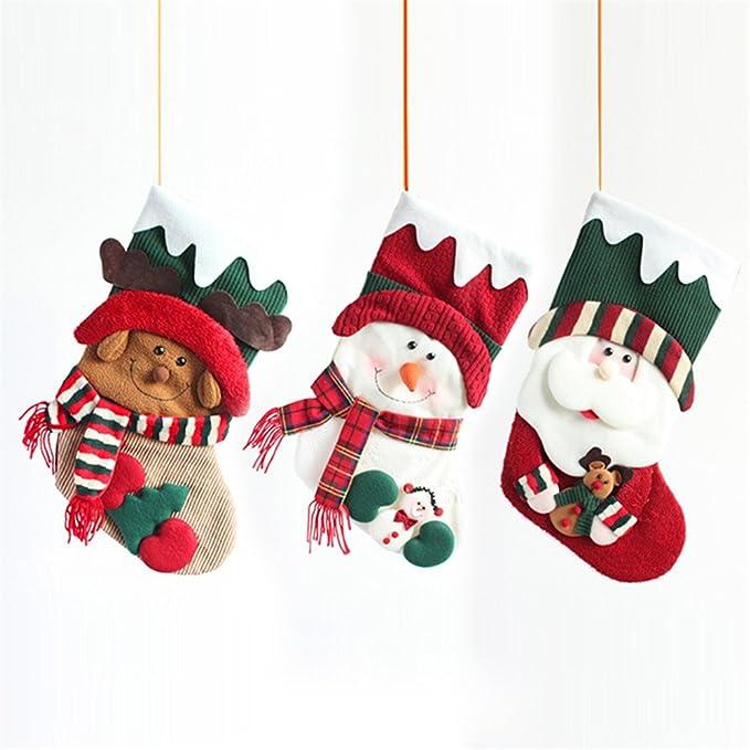 Yiuswoy hecho a mano peluche personalizada calcetín para colgar de Navidad calcetines bolsa de regalo para decorar - muñeco de nieve: Amazon.es: Hogar