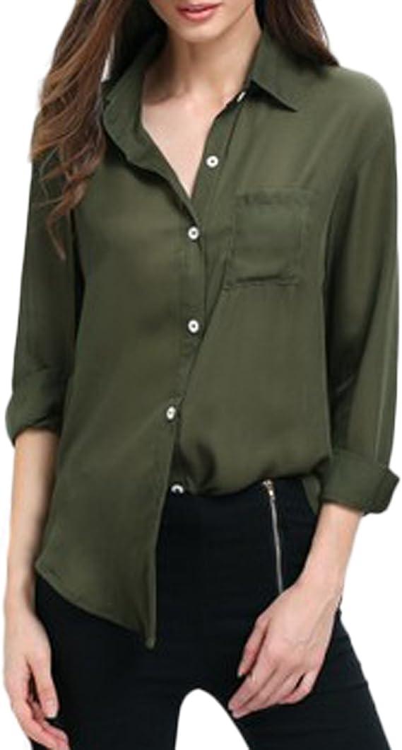 Auxo Blusas Solapa Mujer Camisa Manga Larga con Botones