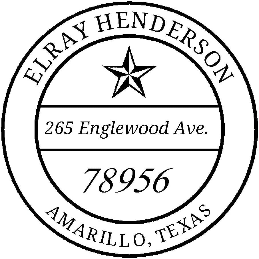 Amazon Com Trodat Printy 4642 Personalized Individual Custom Lone Star Round Name And Address Monogram Self Inking Stamp 1 5 8 Office Products