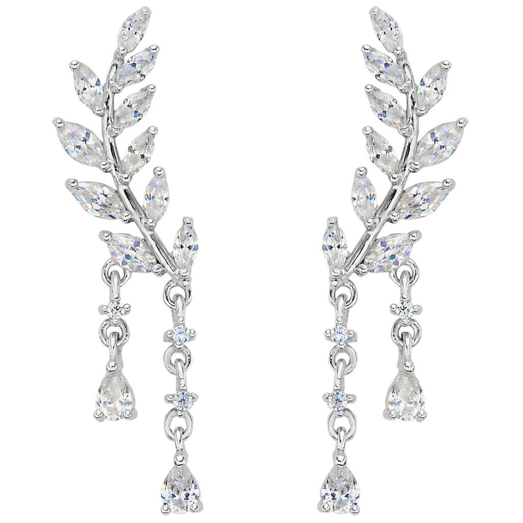 EVER FAITH 925 Sterling Silver CZ Simple Leaves Teardrop Ear Cuff Wrap Sweep Stud Earrings 1 Pair Clear