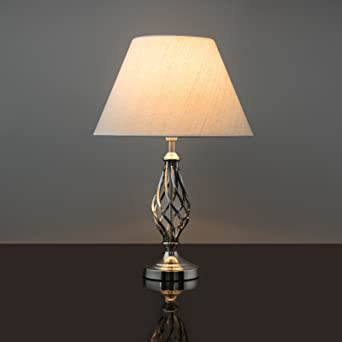 Kingswood barley twist traditional table lamp satin silver kingswood barley twist traditional table lamp satin silver aloadofball Images