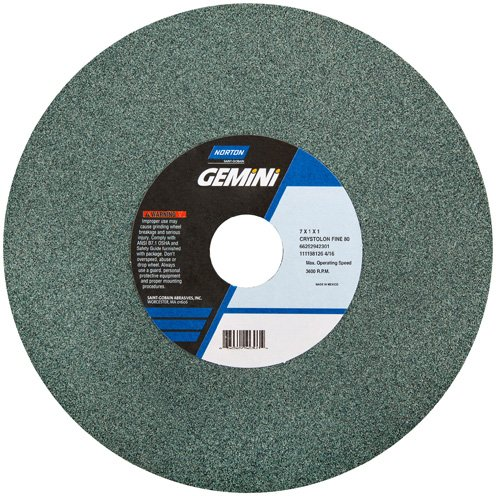 (Norton Abrasives 66253144536 - Gemini Crystolon Bench or Pedestal Grinding Wheel - Grade: Medium, Grit Number: 60, Wheel Diameter: 10)