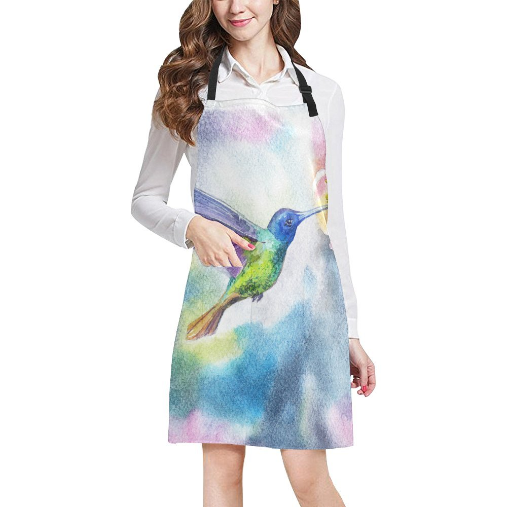 InterestPrint Hipster Watercolor Hummingbirds with Spring Flowers Unisex Adjustable Bib Apron with Pockets for Women Men Girls Chef for Cooking Baking Gardening Crafting, Large Size