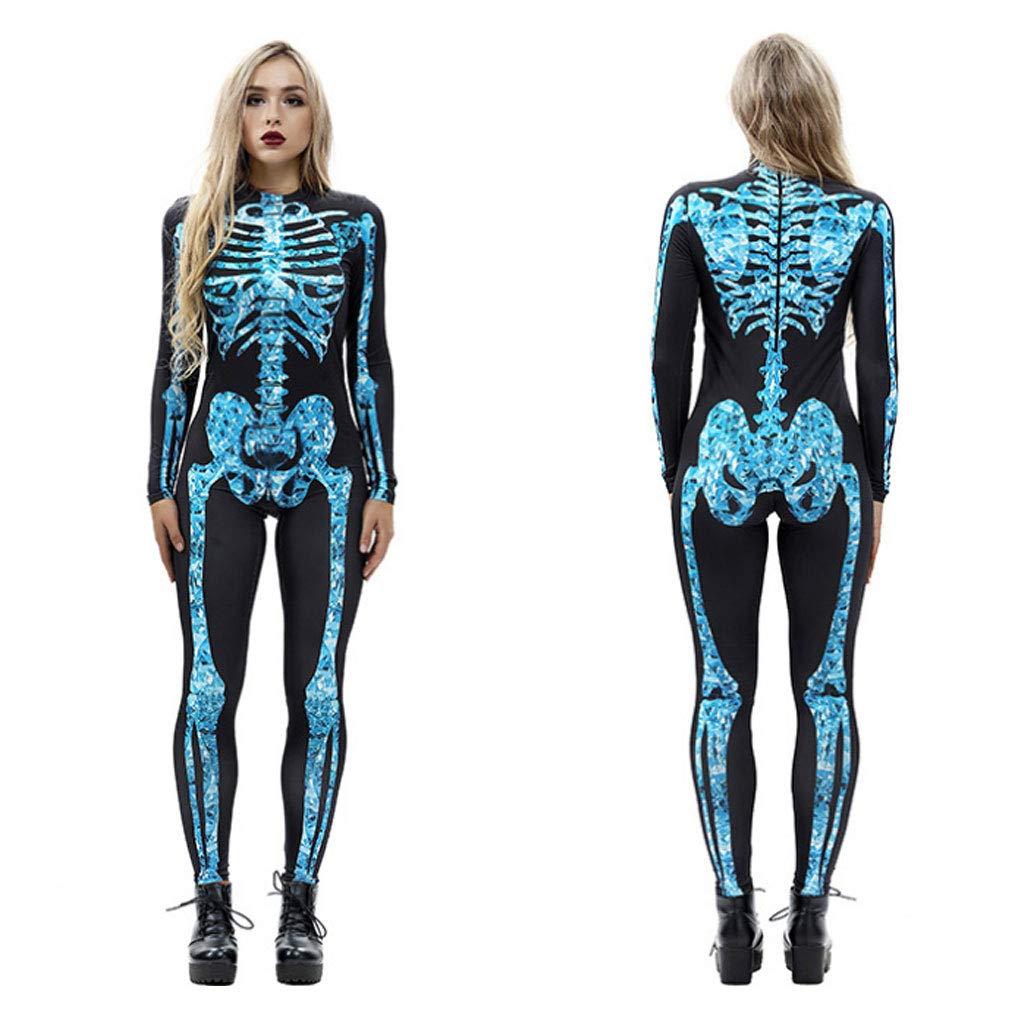 Skull Costume Halloween Cosplay Costume Long Sleeve Zip Code Printing Piece Pants Tights Casual Pants Adult Men and Women Carnival