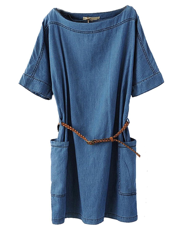 Bininbox Damen Sommerkleid Jeanskleid Denim Blusenkleid kurzarm mit Gürtel