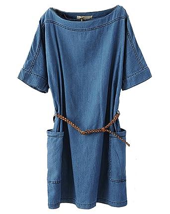 Bininbox Damen Sommerkleid Jeanskleid Denim Blusenkleid Kurzarm Mit