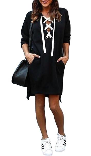 Amazon.com  Women Long Sleeve Lace Up Pullover Kangaroo Pocket Side Slit  Sweatshirt Dress  Clothing 233c12e74
