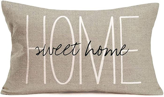 Fukeen Home Sweet Home Quotes Throw Pillow Covers Cotton Linen Waist Lumbar Personalized Throw Pillow Cases Blessing Family Housewarming Gifts Home Office Bay Window Decorative Rectangular 12x20 Inch
