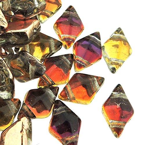 Czech Glass DiamonDuo, 2-Hole Diamond Shaped Beads 5x8mm, 10 Grams, Prismatic - 10 Glass Prismatic