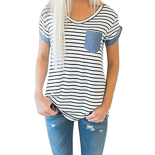 4e35194e5a6 Amazon.com  Nacome Women Striped Pocket Casual Loose Blouse Short Sleeve T Shirt  Tops  Clothing