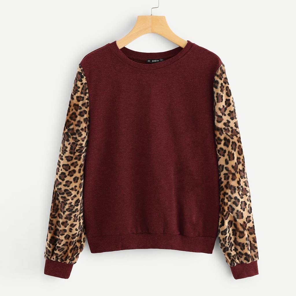 KYLEON Womens Girls Leopard Patchwork Pullover Sweatshirts Long Sleeve T-Shirt Blouses Tops Sweaters Jumpers Shirts