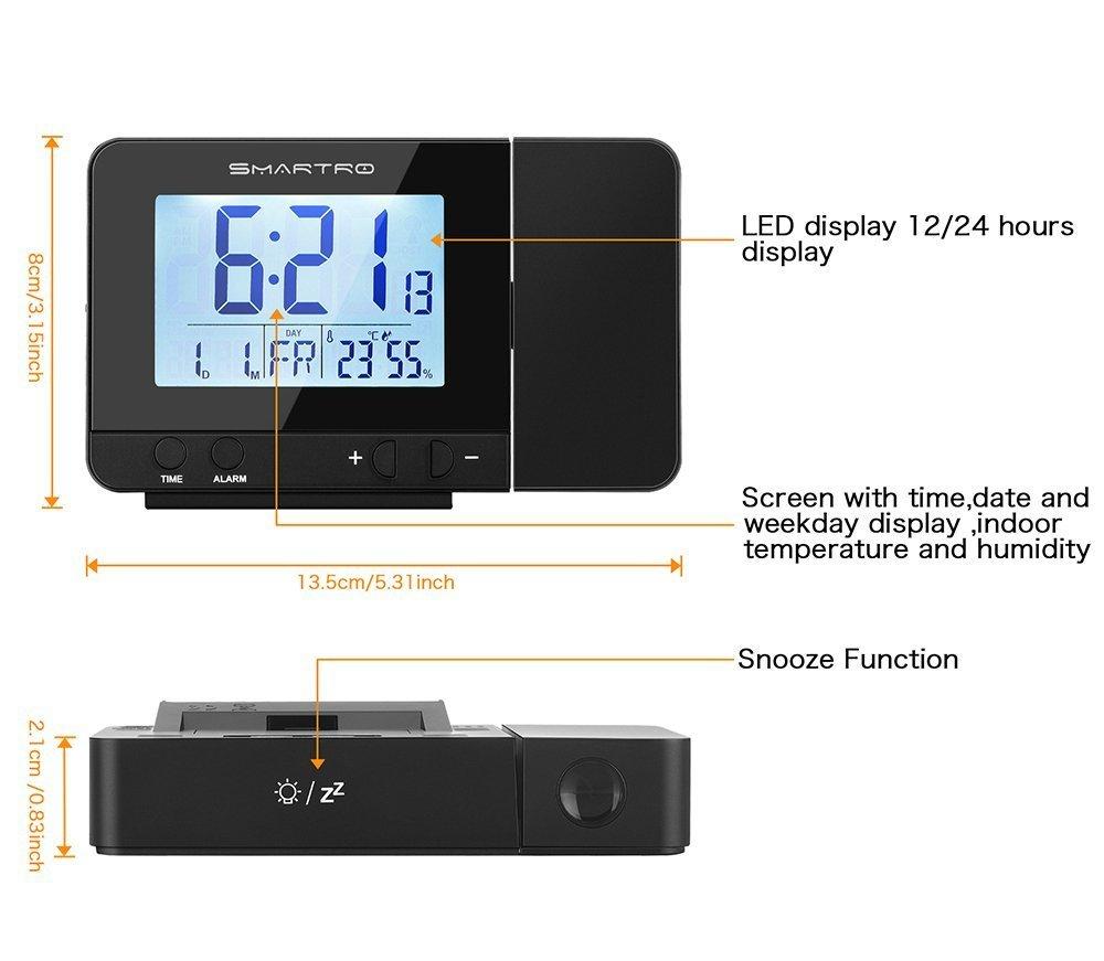 Despertador Digital con Alarma, SMARTRO Digital Projection Clock with Dual Alarms, Indoor Thermometer, USB Phone Charging: Amazon.es: Electrónica