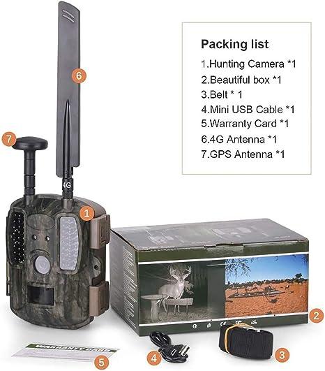 4G GPS Wild Cámara de Caza 12 MP 1080P FHD Cámara Vigilancia ...