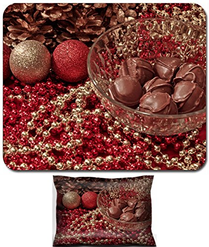 Liili Mouse Wrist Rest and Small Mousepad Set, 2pc Wrist Support IMAGE ID: 24170995 Tasty homemade truffles in a crystal bowl set on an elegant holiday table