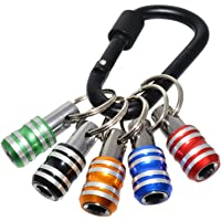 AUSELECT 5IN1 Hex Shank Screwdriver Bits Holder 1/4inch,Extension Bar Drill Screw Aluminum Adapter with Keychain,Non…