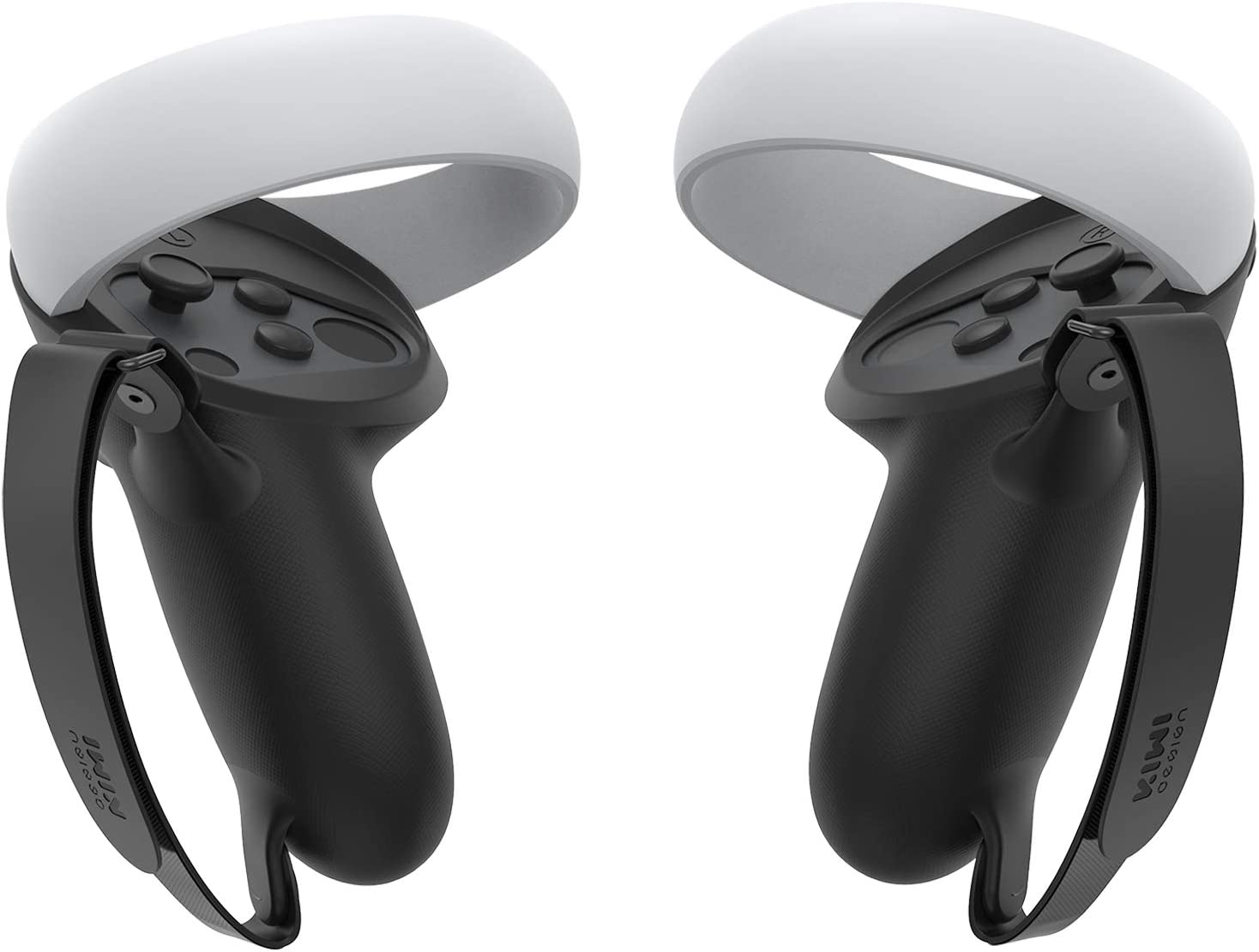 KIWI design Silicone Grip Cover for Oculus Quest 2 Touch Controller Grip Accessories Anti-Throw VR Handle Protective Sleeve (Black, 1 Pair)