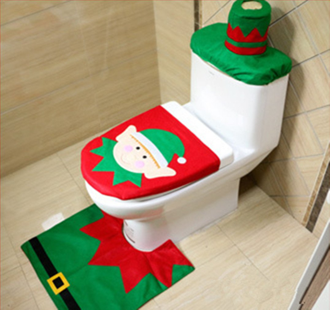 Go4Direction Christmas Santa Toilet Seat Cover Tank Cover Towel Tube Rug Set on sale