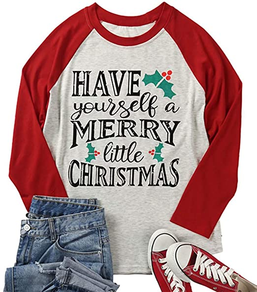Do It Yourself Christmas Shirts.Maximgr Plus Size Have Yourself A Merry Little Christmas T Shirt For Women 3 4 Sleeve Raglan Graphic Xmas Top Tees Shirt