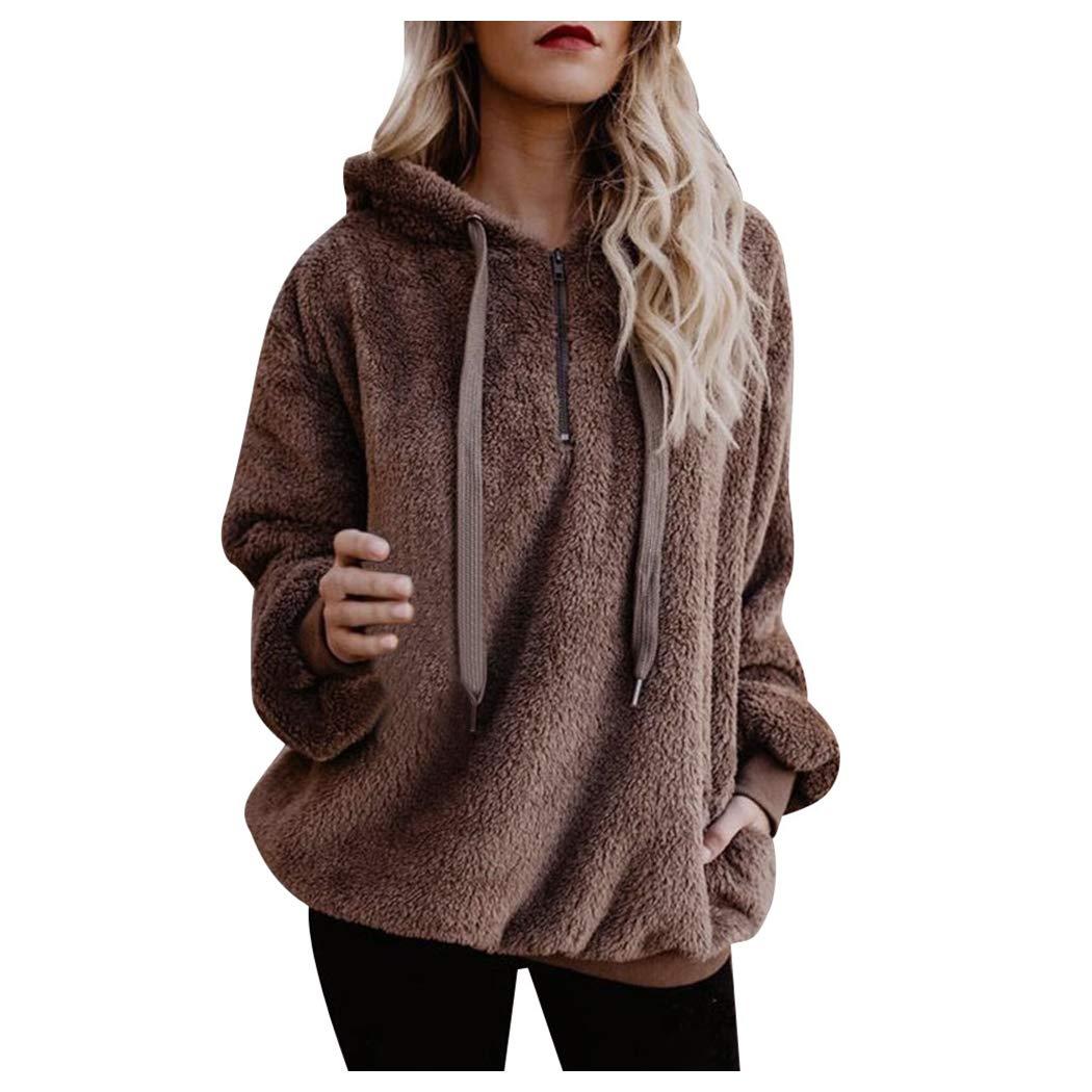 Inkach Women's Fluffy Fuzzy Hooded Sweatshirt Long Sleeve Pullover Tops Jumper Winter Warm Sweater (XL, Coffee) Inkach - Womens Sweatshirt