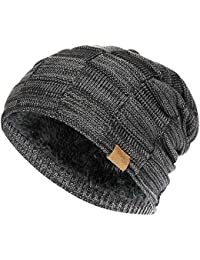 Slouchy Beanie for Men Winter Hats for Guys Cool Beanies Mens Lined Knit  Warm Thick Skully 9d624b9bfd8