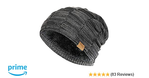 962c20880b7aff Slouchy Beanie for Men Winter Hats for Guys Cool Beanies Mens Lined Knit  Warm Thick Skully Stocking Binie Hat Black at Amazon Men's Clothing store:
