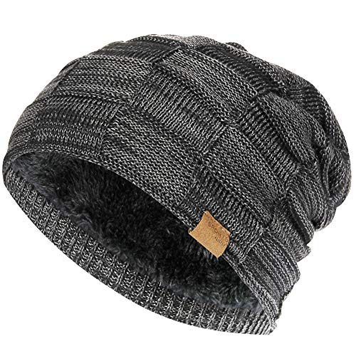 Vgogfly Slouchy Beanie for Men Winter Hats for Guys Cool Beanies Mens Lined Knit Warm Thick Skully Stocking Binie Hat Black -