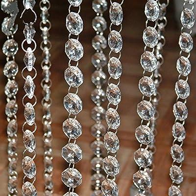 Tongshi 99 Feet Crystal Clear Acrylic Beads Chain Garland Chandelier Hanging Christmas Wedding Decoration