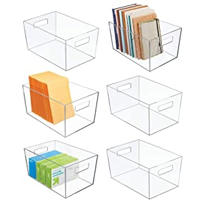 "mDesign Plastic Storage Bin with Handles for Office, Desk, Book Shelf, Filing Cabinet - Organizer for Sticky Notes, Pens, Notepads, Pencils, Supplies - 12"" Long; 6 Pack - Clear"