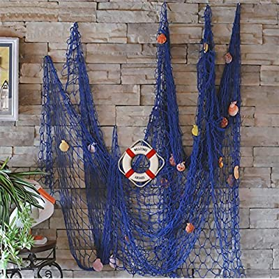 FLAMMA VENTURES Decorative Fish Net with Bonus Lifebuoy and Seashells, Mediterranean Style Nautical Decor, Blue, 6'7 x 4'11 Large Size (200x150cm), Wall and Home Decor, Party Supplies, Wall Art -  - living-room-decor, living-room, home-decor - 61HIa19M74L. SS400  -