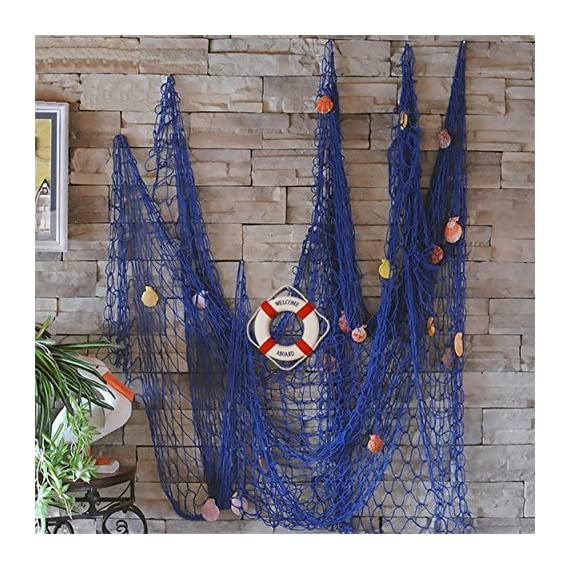 FLAMMA VENTURES Decorative Fish Net with Bonus Lifebuoy and Seashells, Mediterranean Style Nautical Decor, Blue, 6'7 x 4'11 Large Size (200x150cm), Wall and Home Decor, Party Supplies, Wall Art -  - living-room-decor, living-room, home-decor - 61HIa19M74L. SS570  -