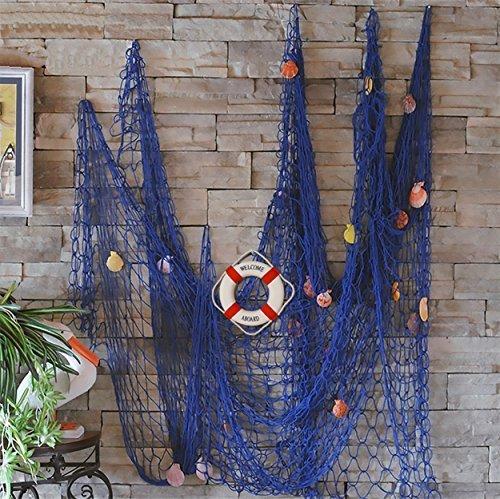 61HIa19M74L - FLAMMA VENTURES Decorative Fish Net with Bonus Lifebuoy and Seashells, Mediterranean Style Nautical Decor, Blue, 6'7 x 4'11 Large Size (200x150cm), Wall and Home Decor, Party Supplies, Wall Art