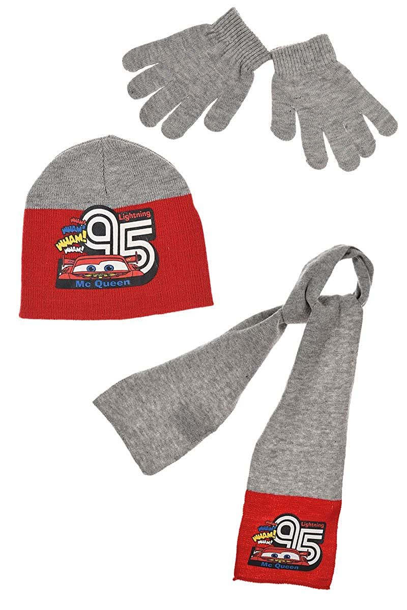 Winter-M/ütze Schal Handschuhe Grau Cars Disney Kinder Winter-Set 3-TLG