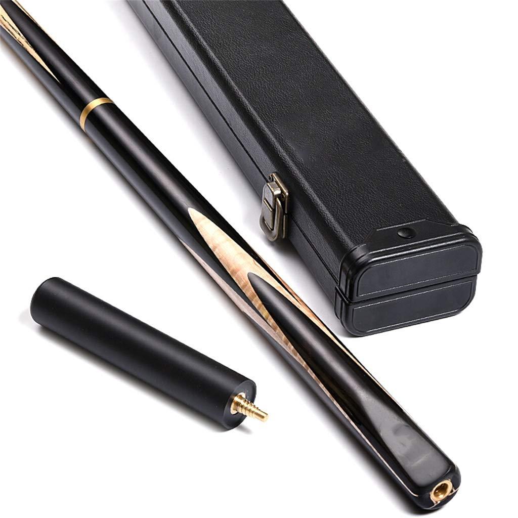 3/4スヌーカーキュープールキュースモールヘッド9.5mm銅ファーストアングルインドネシア黒檀後黒8ビリヤードバーポータブルフランネルライトアングルバーボックス145cm、17.5-19oz