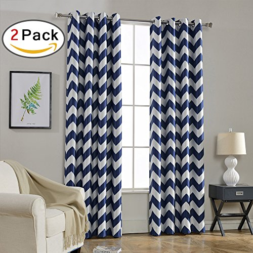 Melodieux Set of 2 Chevron Room Darkening Blackout Grommet Top Curtains, 52 by 84 Inch, Navy (Chevron Curtains Navy)