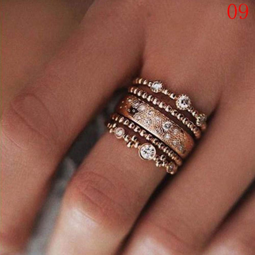 Uscharm Rose Gold Stackable Ring 5 Sparkly Rings Gold Womens Rings For Girls (GD10) by Uscharm (Image #2)