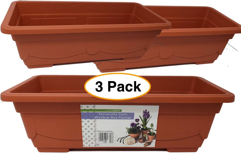 "Terracotta Style Window | Garden Box Planter Pot 17.5"" for Plants, Flowers or Herbs (3 Pack)"