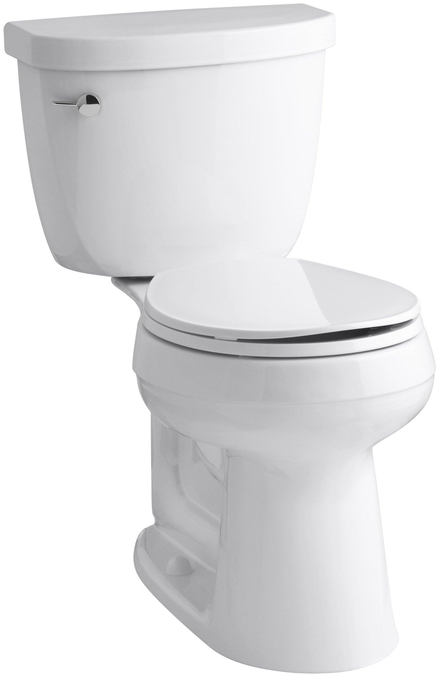 KOHLER K-3887-0 Cimarron Comfort Height Two-Piece Round-Front 1.28 GPF Toilet with AquaPiston Flush Technology and Left-Hand Trip Lever, White by Kohler