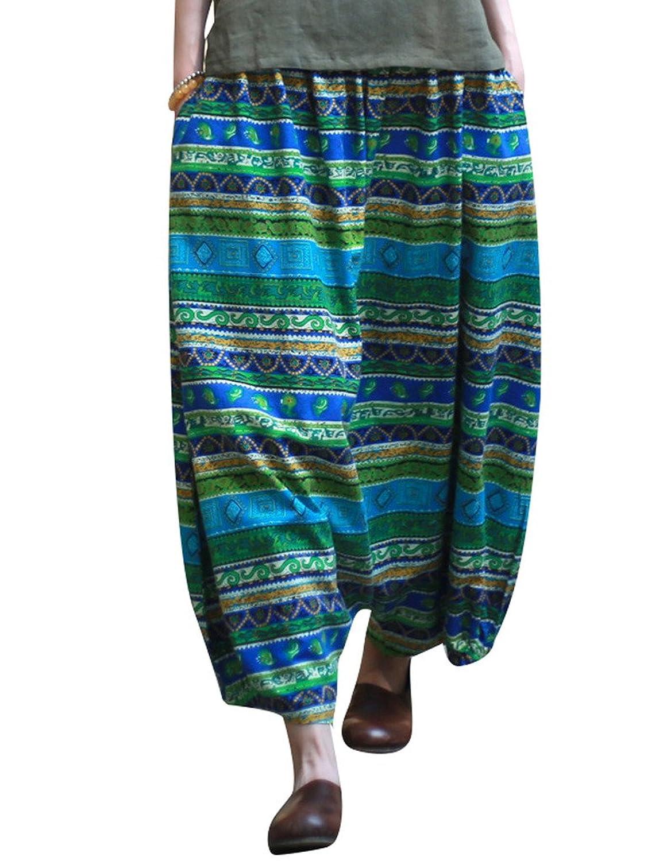 Yolee Women's Striped Printed Big Crotch Pants