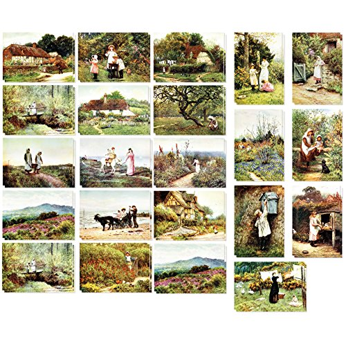 Set of 40 Vintage Postcards Collection Variety Pack World Theme Self Mailer Mailing Side Postcards 20 Different Designs, 2 of Each, 40 Pack Postage Saver - Old World - European - 4 x 6 Inches