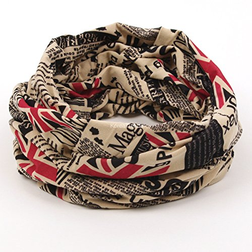 Magic Multi Scarf - Transform Scarf & Hat & Bandana , turn in one direction. 3 in 1 style, 2 layer (red Union Jack) (One Direction British Flag)