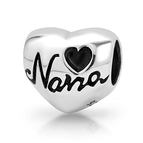 e5d9615f4 Image Unavailable. Image not available for. Color: 925 Sterling Silver  Heart Nana Bead Charm