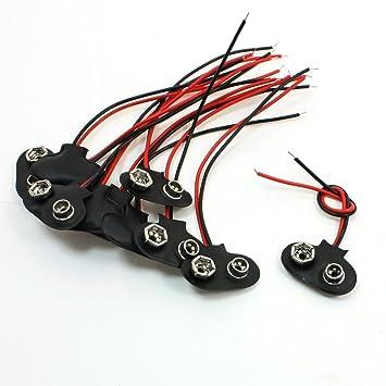 Schwarz Rot 9cm Kabelanschluss 9V Batterie-Clip-Anschluss Schnalle ...