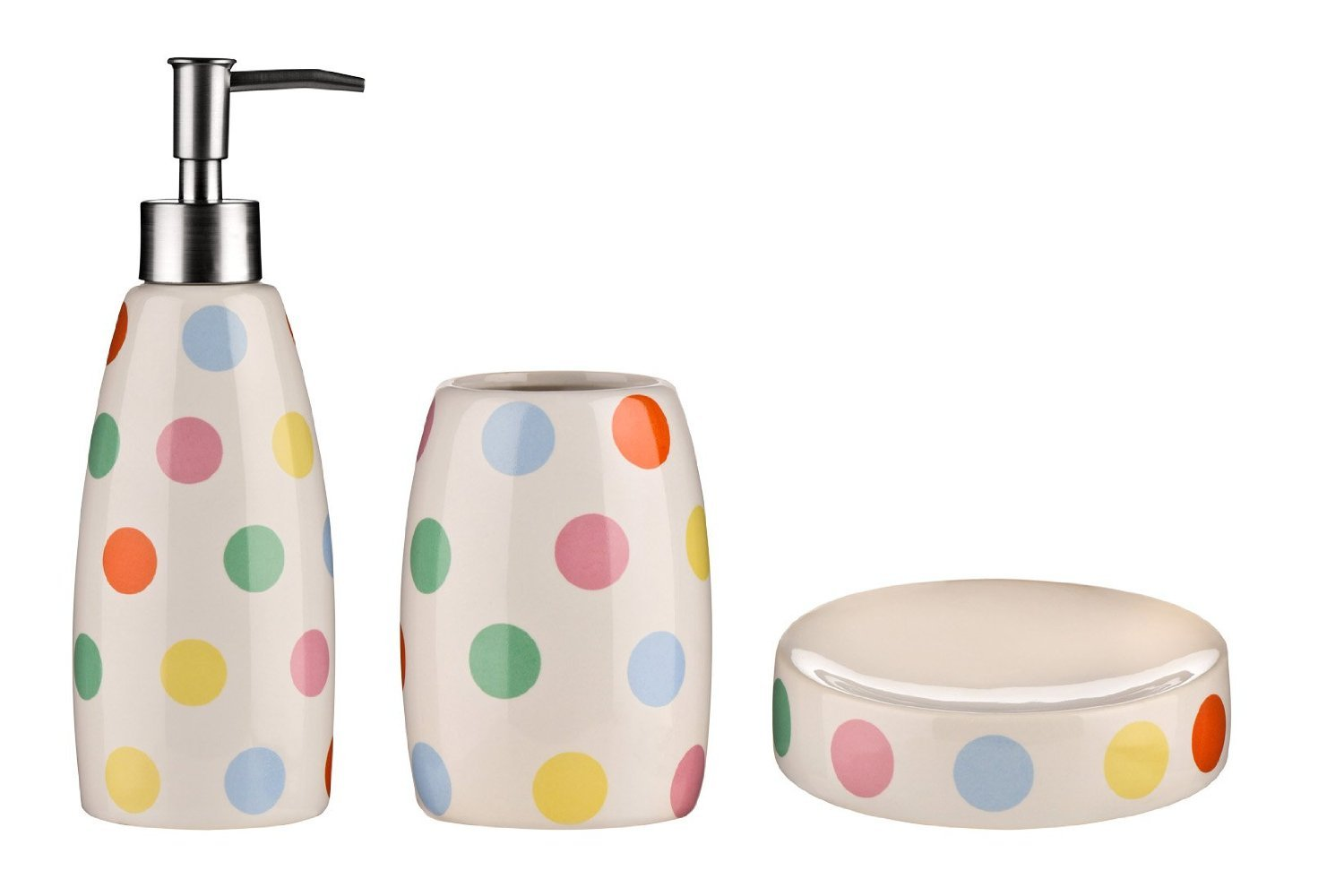 Bathroom Accessories Set Multi Coloured Dot Stoneware soap dish ...