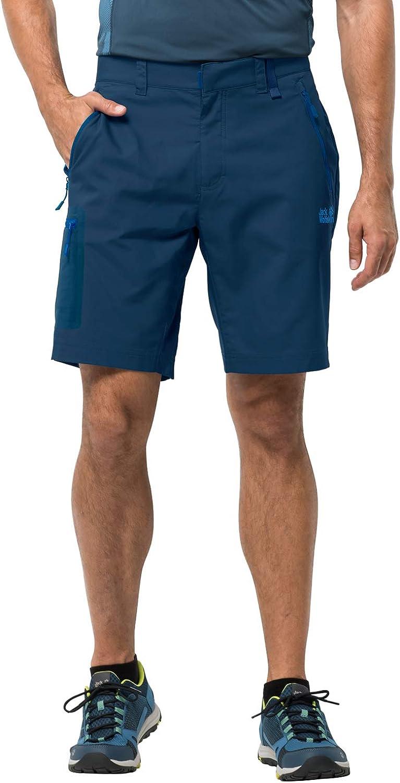 Jack Wolfskin Men's Active Track Men's Soft Shell Hiking Shorts 100% Pfc Free,Poseidon Blue ,46 (U Small 32/31)