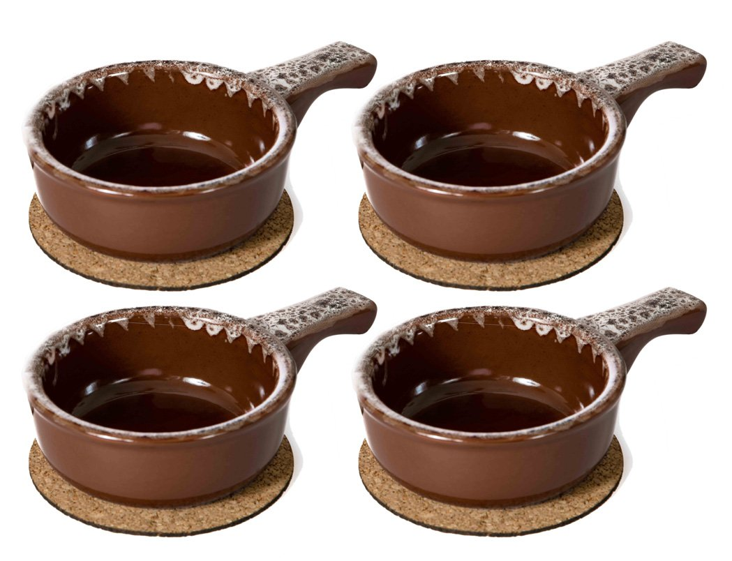 Baking Serving Onion Soup 14 Ounce Bowls with Handles - Set of 4 - Porcelain Individual Stoneware Chowder Bisque Pot Pie Crocks