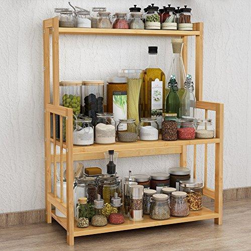3-Tier Standing Spice Rack LITTLE TREE Kitchen Bathroom Countertop Storage Organizer, Bamboo Spice Jars Bottle Rack Holder with Adjustable Shelf Countertop Spice Rack