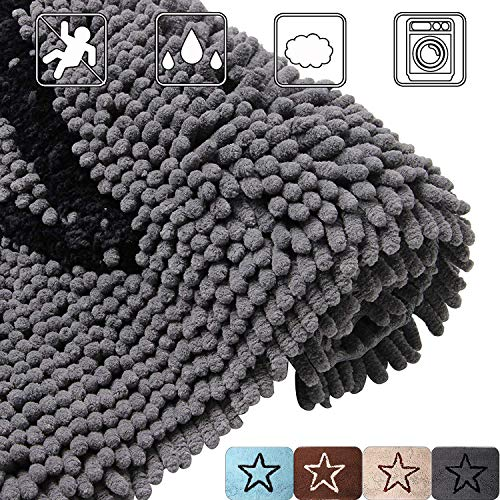 AGOOL Bathroom Doormat Mat Pet Rugs - Shaggy Machine Washable, Ultra Absorbent Durable Super Thick Quick Drying Non-Slip Extra Soft Strong Underside Plush Mats 27